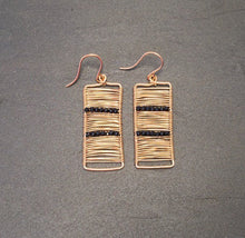 Gold Wire Wrapped Rectangle Earrings with Black Spinel