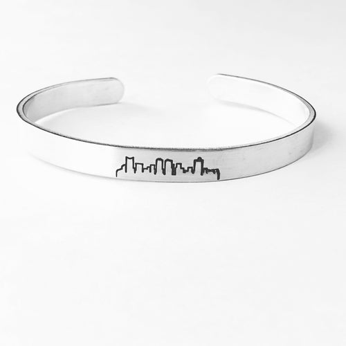 Fort Worth Texas Skyline Cuff Bracelet