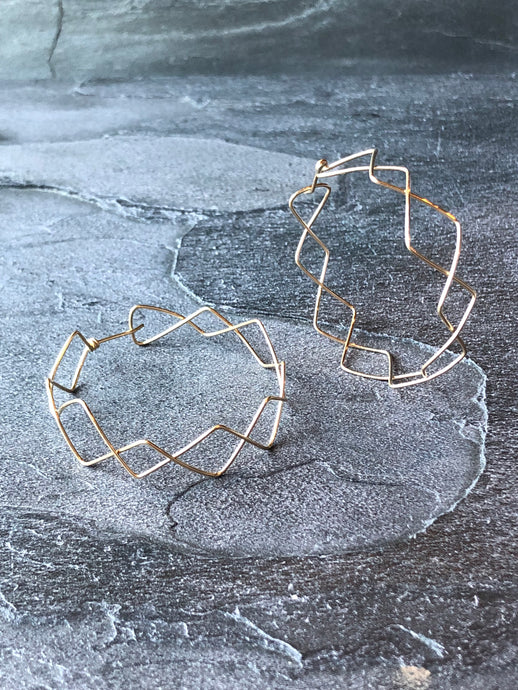 Crisscross Large Hoop Earrings in 14k Gold or Silver