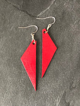 Leather Triangle Earrings in Gold, Silver, Red, Turquoise, Navy Blue version 2