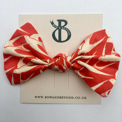 Large Red/White Bird Print Big Bow