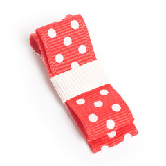 Wide Red & Cream Spot On Hair Clip