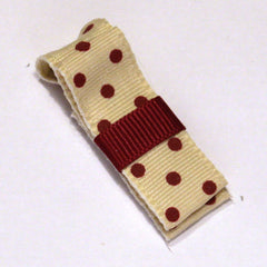 Wide Cream and Burgundy Spot On Hair Clip
