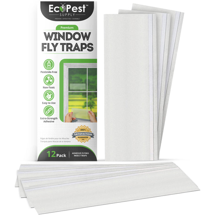 Window Fly Traps – 12 Pack | Transparent Sticky Fly Trap for Windows