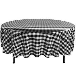 "Linen Polyester 90"" Checkered Round Tablecloths - IceFabrics"