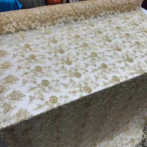 Gold Design Bridal Wedding Beaded Mesh Lace Fabric  - IceFabrics