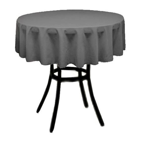 Charcoal - Polyester Poplin Tablecloth 36-Inch Round, Decoration Shop Prom Wedding Tablecloths - IceFabrics