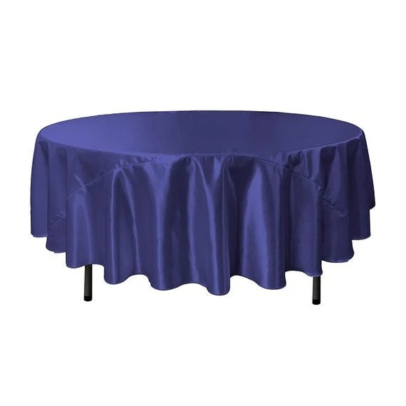 Royal Blue - Bridal Satin Round Tablecloth, 90-Inch, Wedding Prom Decoration Outdoor Birthday Party, DJ Party, And Dining Tables Decor - IceFabrics