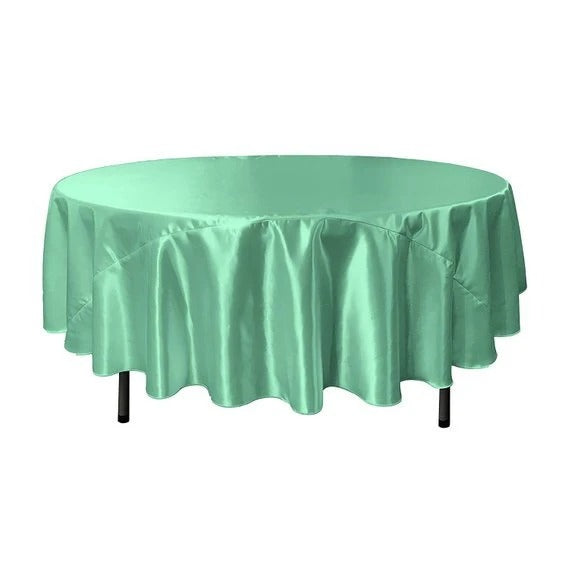 Mint - Bridal Satin Round Tablecloth, 90-Inch, Wedding Prom Decoration Outdoor Birthday Party, DJ Party, And Dining Tables Decor - IceFabrics