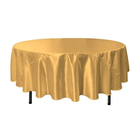 Gold - Bridal Satin Round Tablecloth, 90-Inch, Wedding Prom Decoration Outdoor Birthday Party, DJ Party, And Dining Tables Decor - IceFabrics