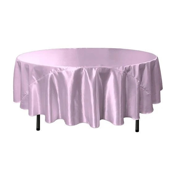 Lilac - Bridal Satin Round Tablecloth, 90-Inch, Wedding Prom Decoration Outdoor Birthday Party, DJ Party, And Dining Tables Decor - IceFabrics