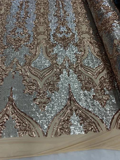 Rose Gold/Silver On Power Mesh  - Snake Design Elegant 4 WAY Stretch Sequins On Power Mesh//Spandex Mesh Lace Sequins Fabric By The Yard//Embroidery Lace/ Gowns/Veil/ Bridal - IceFabrics