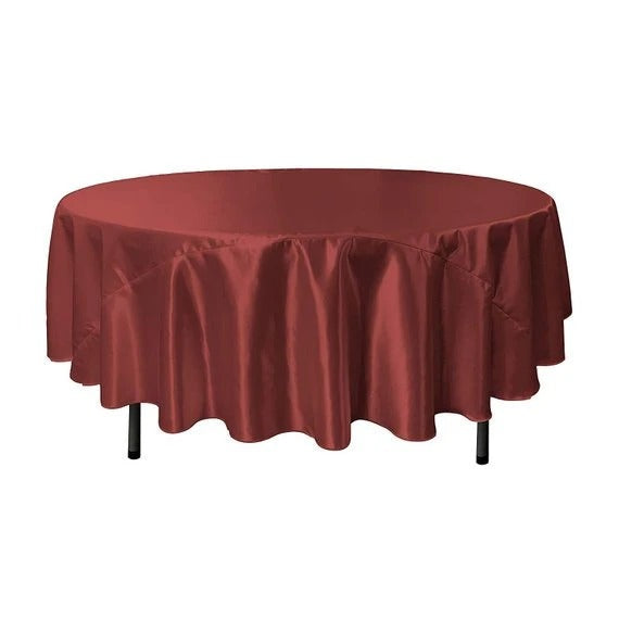 Burgundy - Bridal Satin Round Tablecloth, 90-Inch, Wedding Prom Decoration Outdoor Birthday Party, DJ Party, And Dining Tables Decor - IceFabrics