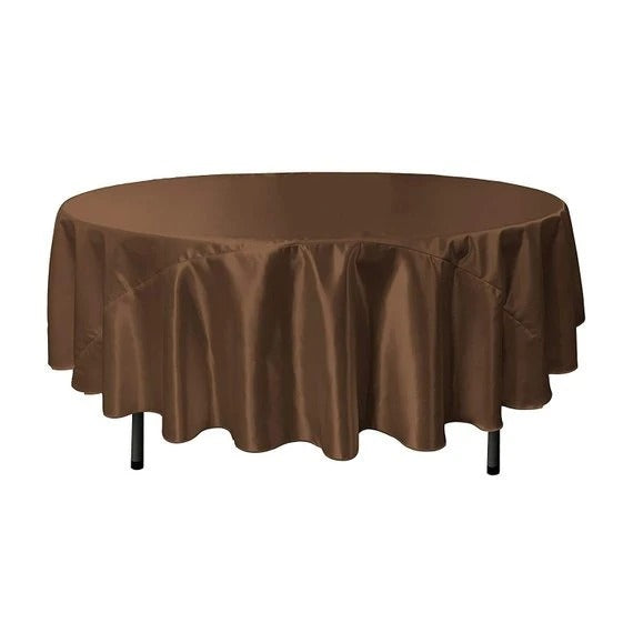 Brown - Bridal Satin Round Tablecloth, 90-Inch, Wedding Prom Decoration Outdoor Birthday Party, DJ Party, And Dining Tables Decor - IceFabrics