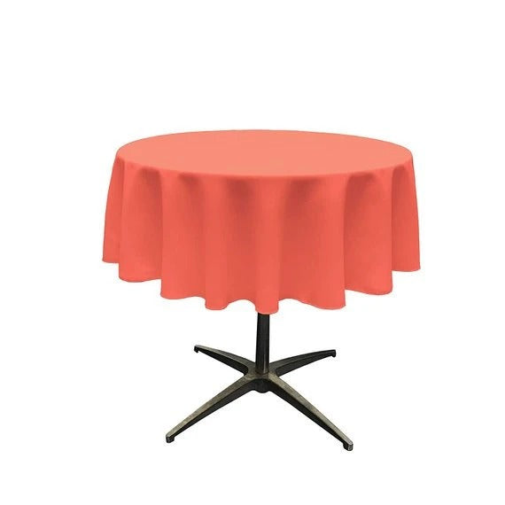 Coral - Polyester Poplin Tablecloth 51-Inch Round, Dark Runners Decorations Fashion Wedding Decor Prom Decor - IceFabrics