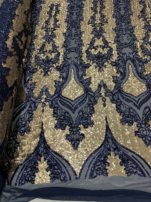 Navy Blue On Power Mesh  - Snake Design Elegant 4 WAY Stretch Sequins On Power Mesh//Spandex Mesh Lace Sequins Fabric By The Yard//Embroidery Lace/ Gowns/Veil/ Bridal - IceFabrics