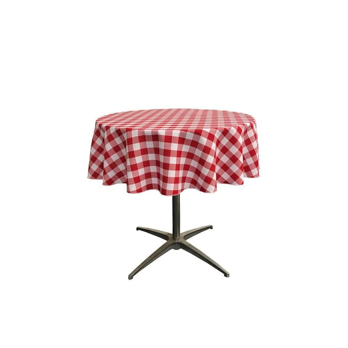 51-inch White Checkered Polyester Round Tablecloth - IceFabrics