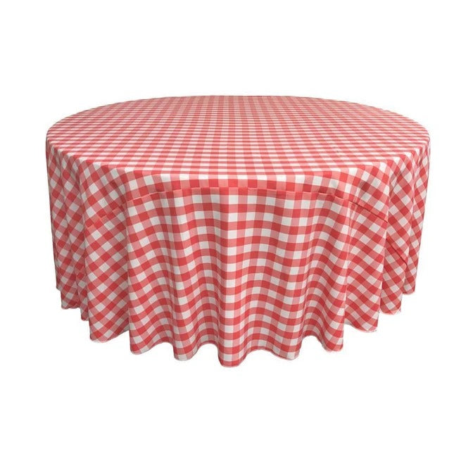 Polyester 90 Inch Checkered Round Tablecloths - IceFabrics