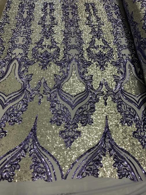 Lavender On Power Mesh  - Snake Design Elegant 4 WAY Stretch Sequins On Power Mesh//Spandex Mesh Lace Sequins Fabric By The Yard//Embroidery Lace/ Gowns/Veil/ Bridal - IceFabrics