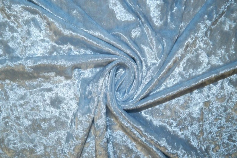 Light Blue - 58/60 Inch Stretch Crushed Velvet Fabric By The Yard - IceFabrics
