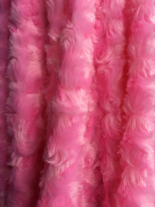BUBBLE GUM PINK - 58/60 inch Wide Rose/Rosette Minky Cuddle Fabric By The Yard - IceFabrics
