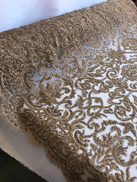 Taupe - Lace By The Yard Embroidered Lace With Beads And Sequins French Bridal Veil Wedding Decoration Home tablecloths women fashion dress - IceFabrics