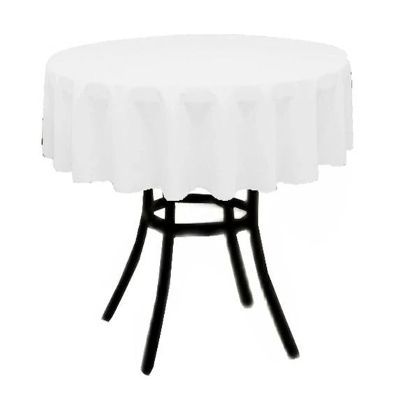 White - Polyester Poplin Tablecloth 36-Inch Round, Decoration Shop Prom Wedding Tablecloths - IceFabrics