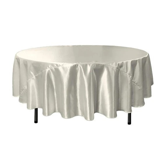 White - Bridal Satin Round Tablecloth, 90-Inch, Wedding Prom Decoration Outdoor Birthday Party, DJ Party, And Dining Tables Decor - IceFabrics
