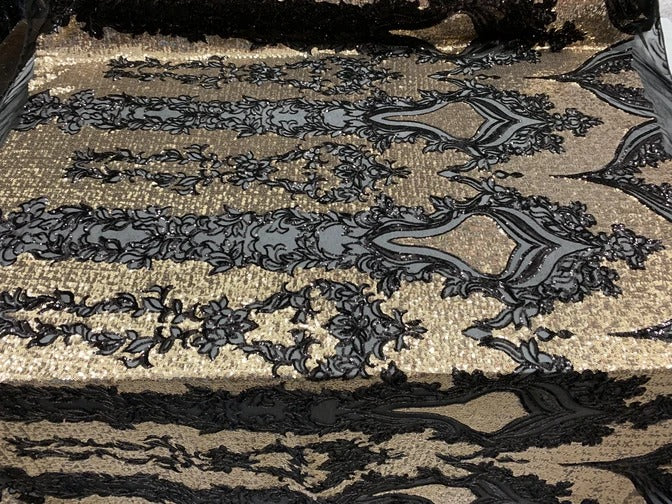 Black/Gold On Power Mesh  - Snake Design Elegant 4 WAY Stretch Sequins On Power Mesh//Spandex Mesh Lace Sequins Fabric By The Yard//Embroidery Lace/ Gowns/Veil/ Bridal - IceFabrics