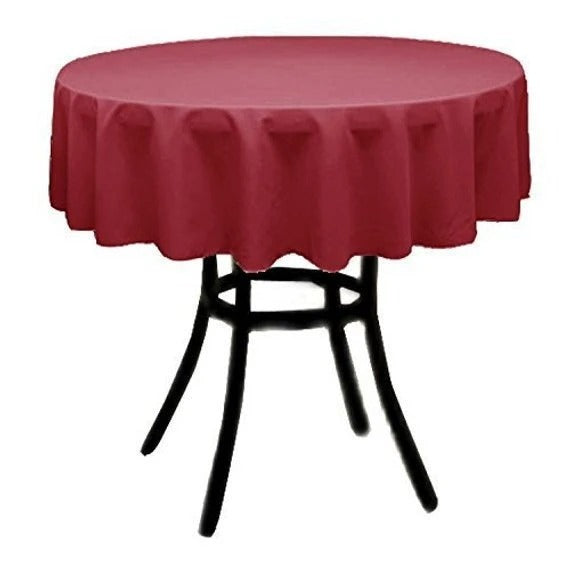 Red - Polyester Poplin Tablecloth 36-Inch Round, Decoration Shop Prom Wedding Tablecloths - IceFabrics