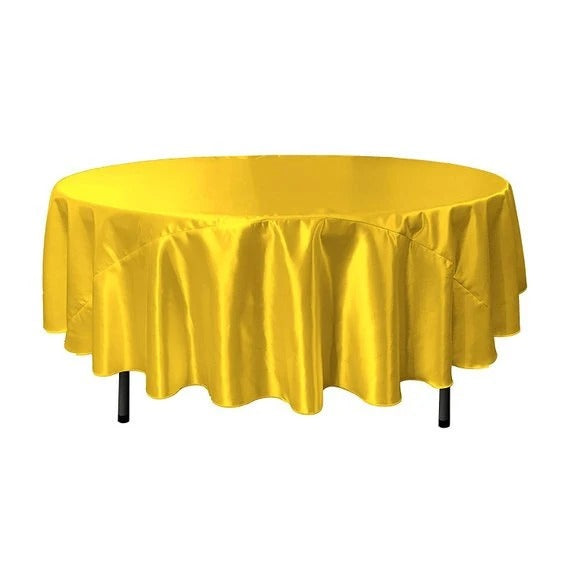 Yellow - Bridal Satin Round Tablecloth, 90-Inch, Wedding Prom Decoration Outdoor Birthday Party, DJ Party, And Dining Tables Decor - IceFabrics