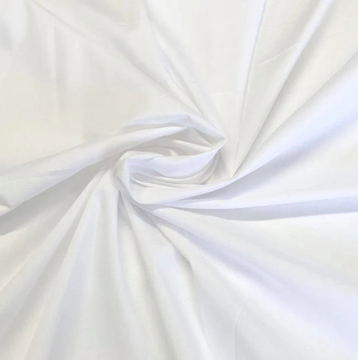 "White - High Quality 60"" Wide Poly Cotton Fabric By The Yard For Costumes, Garments Bed Spreads Pillow Cases - IceFabrics"