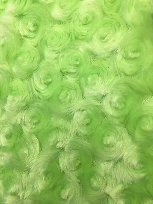 LIME GREEN - 58/60 inch Wide Rose/Rosette Minky Cuddle Fabric By The Yard - IceFabrics