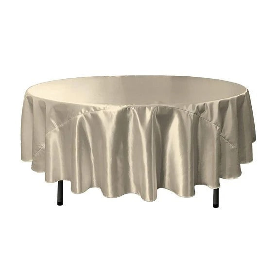 Silver - Bridal Satin Round Tablecloth, 90-Inch, Wedding Prom Decoration Outdoor Birthday Party, DJ Party, And Dining Tables Decor - IceFabrics