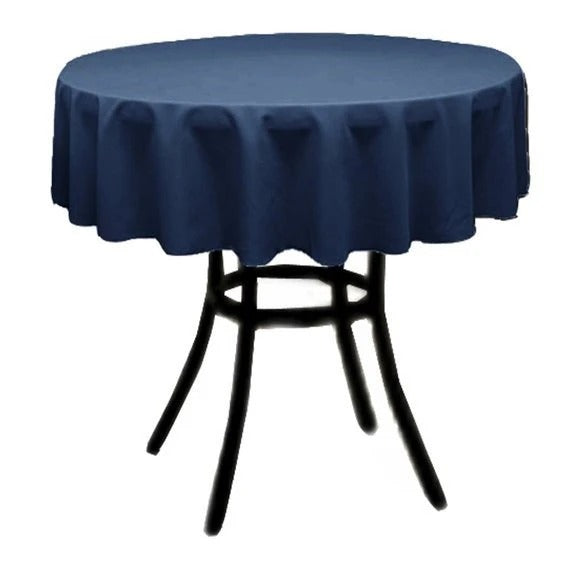 Navy Blue - Polyester Poplin Tablecloth 36-Inch Round, Decoration Shop Prom Wedding Tablecloths - IceFabrics