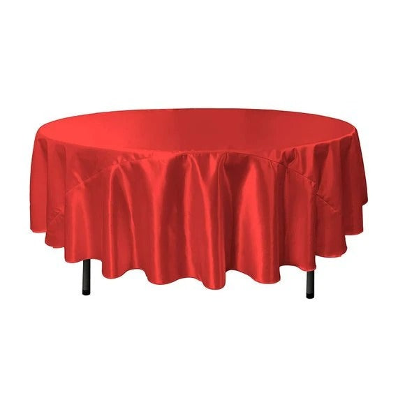Red - Bridal Satin Round Tablecloth, 90-Inch, Wedding Prom Decoration Outdoor Birthday Party, DJ Party, And Dining Tables Decor - IceFabrics