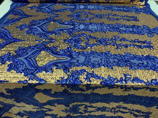 Royal Blue On Power Mesh  - Snake Design Elegant 4 WAY Stretch Sequins On Power Mesh//Spandex Mesh Lace Sequins Fabric By The Yard//Embroidery Lace/ Gowns/Veil/ Bridal - IceFabrics
