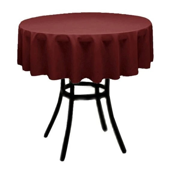 Burgundy - Polyester Poplin Tablecloth 36-Inch Round, Decoration Shop Prom Wedding Tablecloths - IceFabrics