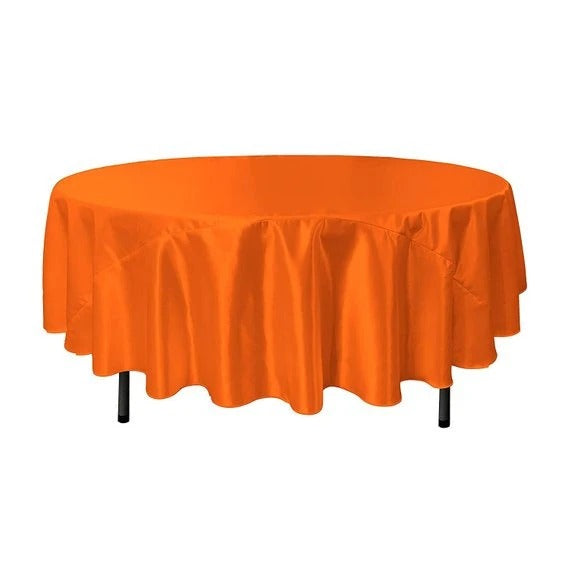Orange - Bridal Satin Round Tablecloth, 90-Inch, Wedding Prom Decoration Outdoor Birthday Party, DJ Party, And Dining Tables Decor - IceFabrics