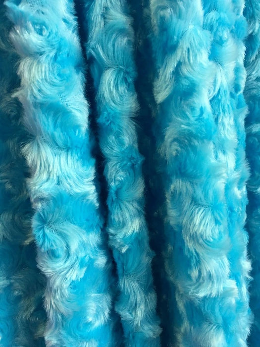 TURQUOISE - 58/60 inch Wide Rose/Rosette Minky Cuddle Fabric By The Yard - IceFabrics