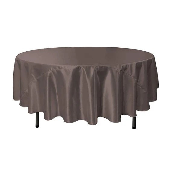 Charcoal - Bridal Satin Round Tablecloth, 90-Inch, Wedding Prom Decoration Outdoor Birthday Party, DJ Party, And Dining Tables Decor - IceFabrics