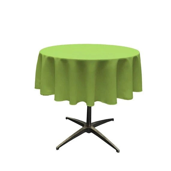 Lime - Polyester Poplin Tablecloth 51-Inch Round, Dark Runners Decorations Fashion Wedding Decor Prom Decor - IceFabrics