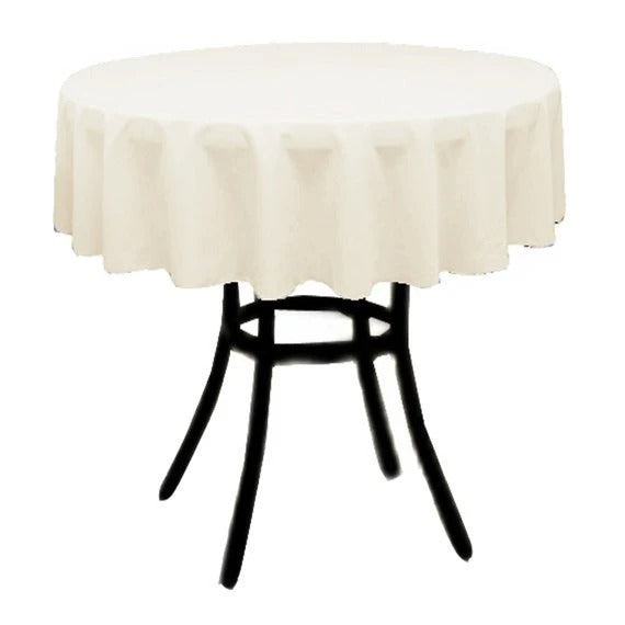 Ivory - Polyester Poplin Tablecloth 36-Inch Round, Decoration Shop Prom Wedding Tablecloths - IceFabrics