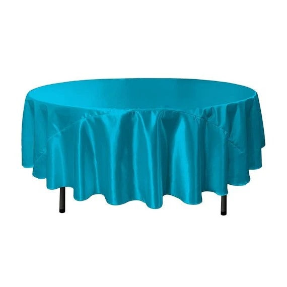 Turquoise - Bridal Satin Round Tablecloth, 90-Inch, Wedding Prom Decoration Outdoor Birthday Party, DJ Party, And Dining Tables Decor - IceFabrics