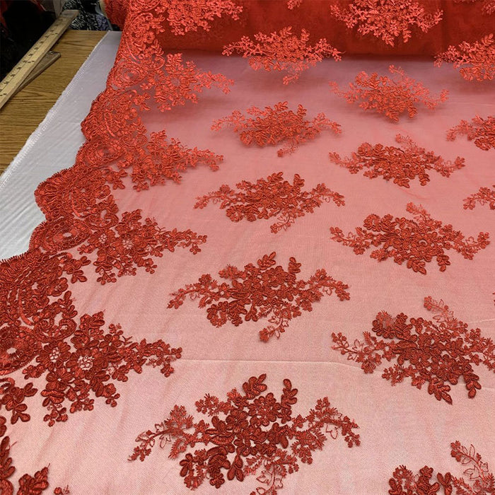 Red - French Design Floral Mesh Lace Embroidery Fabric - IceFabrics