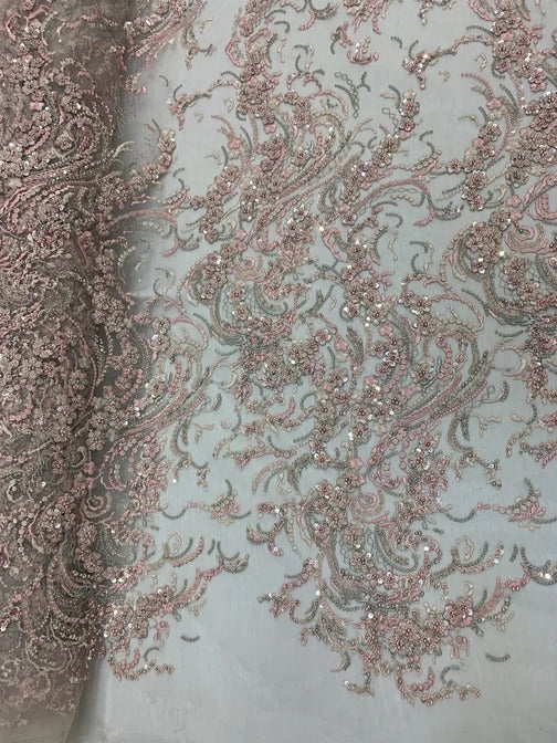 PINK - MINI Flowers/Floral Beaded Fabric By The Yard//Embroidered Mesh Lace with Beads For Wedding Dresses, Prom Dress, Bridal Gowns - IceFabrics