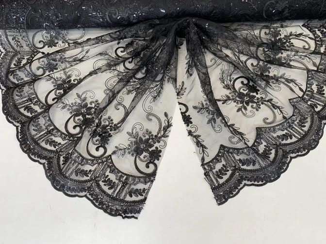 Black - Metallic Flowers Sequins On A Mesh Lace Fabric// Lace By The Yard//Floral Embroider Lace Tablecloths,Costumes,Decorations,Runners - ICE FABRICS