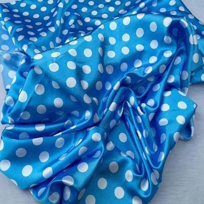 Turquoise/white - 1/2inch Polka Dot Silky/Soft Charmeuse Satin Fabric - ICE FABRICS