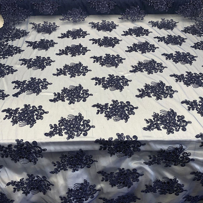 Navy Blue - Embroidered Mesh lace Floral Design Fabric With Sequins By The Yard - IceFabrics