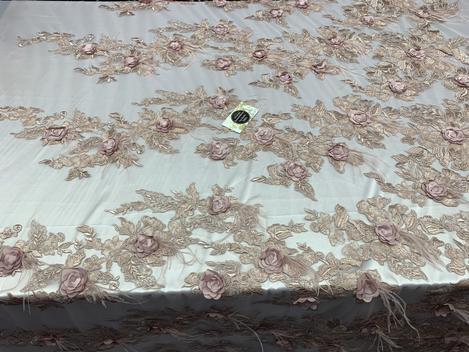 Light Pink - Burgundy - 3D Luxury Feather Design Floral Mesh Lace With Sequins Embroidery By The Yard - ICE FABRICS